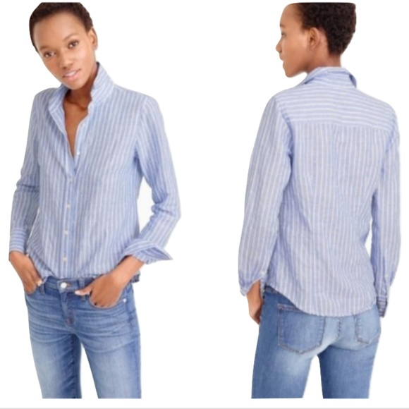 18326205265 J. Crew Tops - J.Crew Blue Vertical Striped Perfect Button-Down